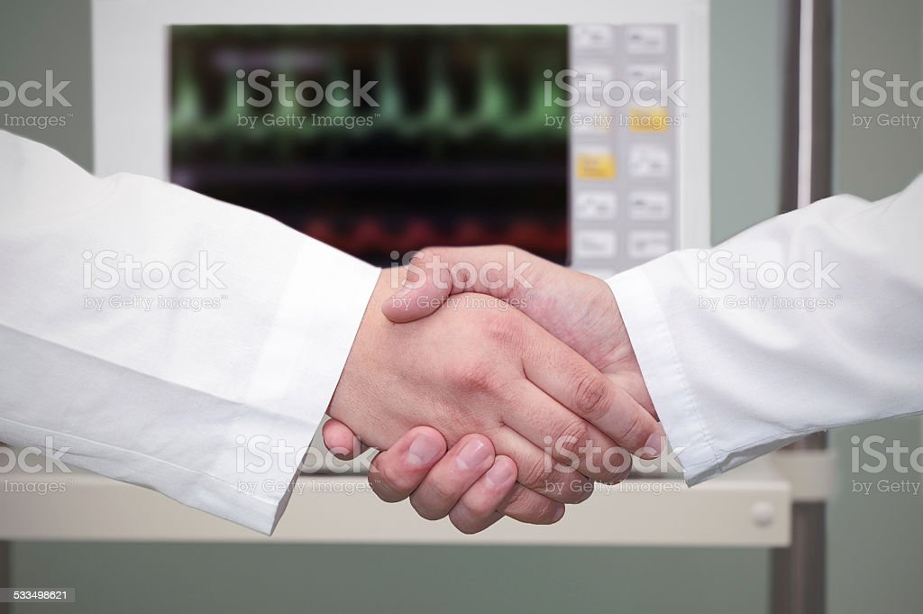 handshake in the hospital. stock photo