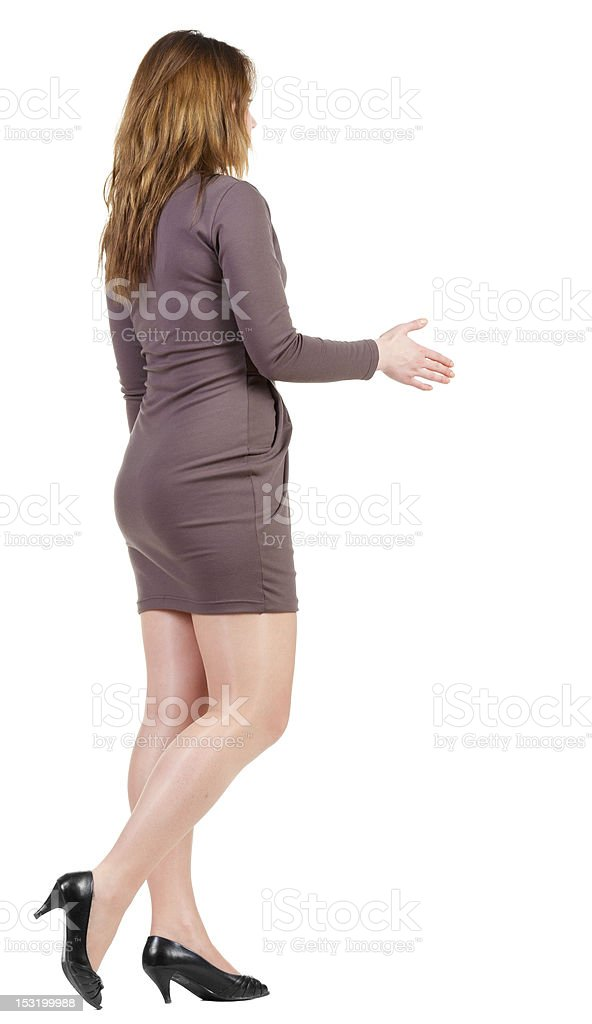 handshake in walking woman's. royalty-free stock photo