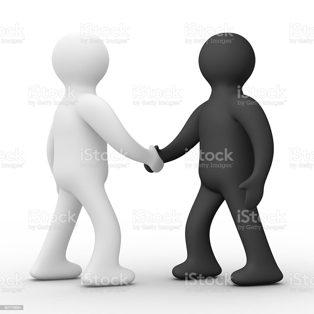 Handshake. Meeting two businessmen. Isolated 3D image. royalty-free stock photo