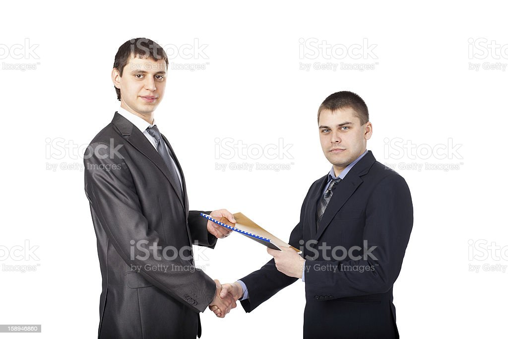 Handshake of business partners isolated on white background royalty-free stock photo