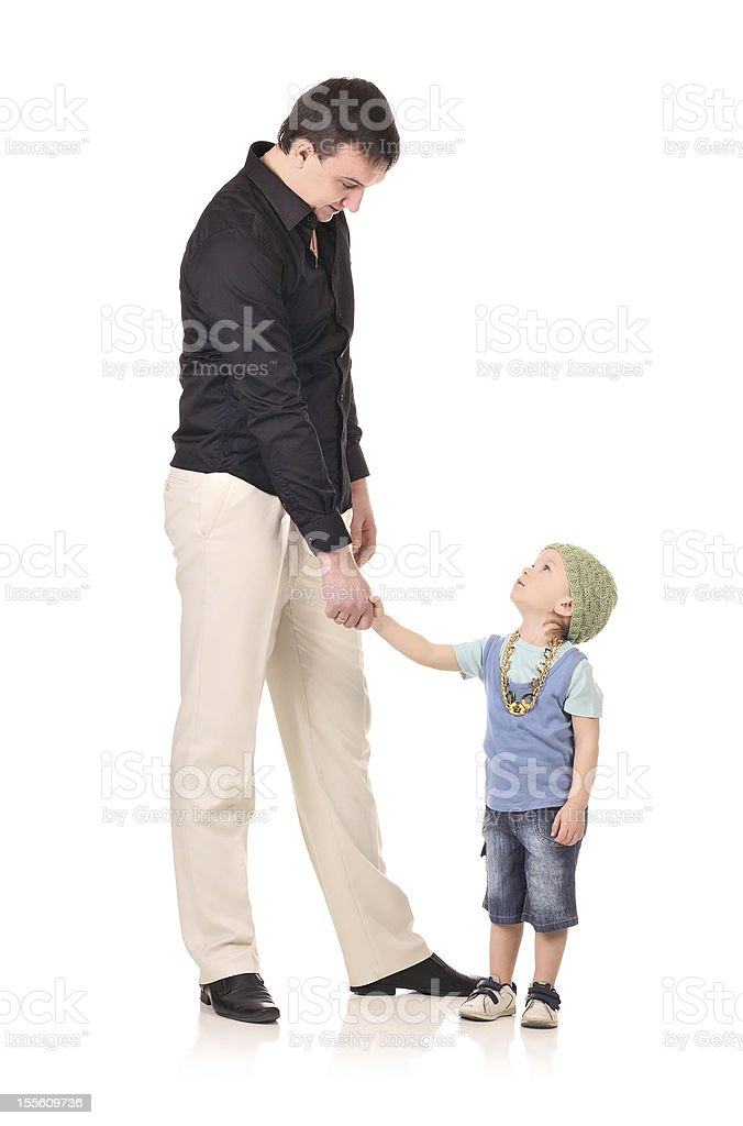 Handshake of man and boy stock photo