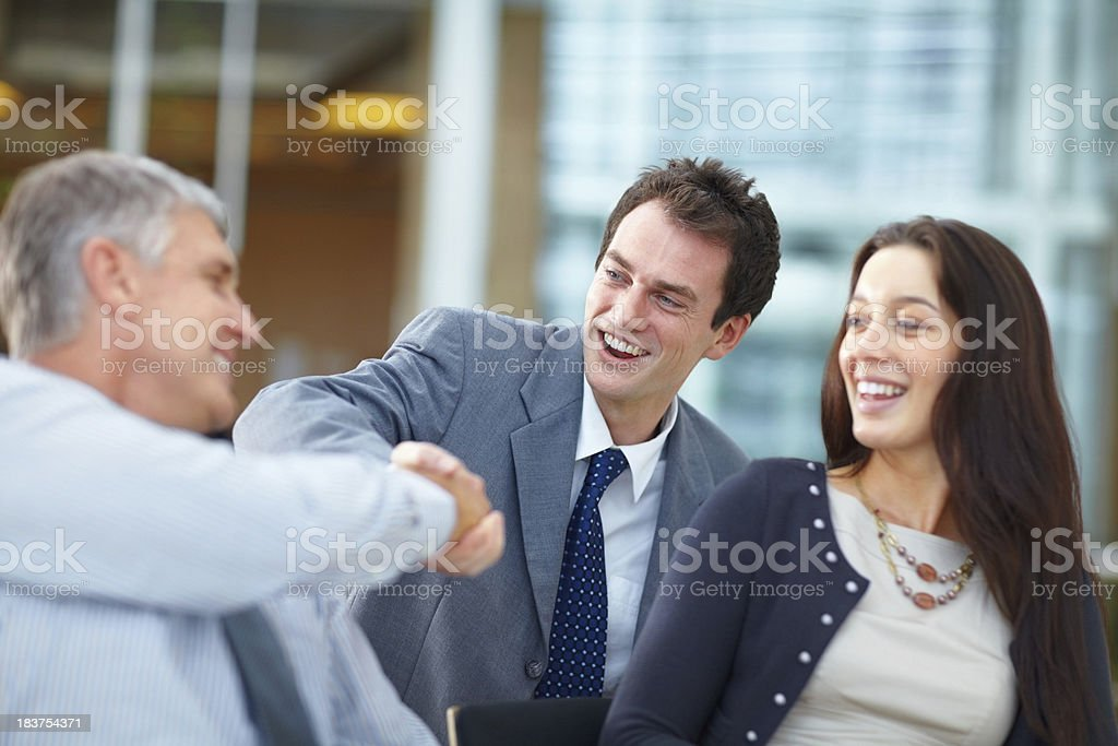 Handshake of successful business men royalty-free stock photo