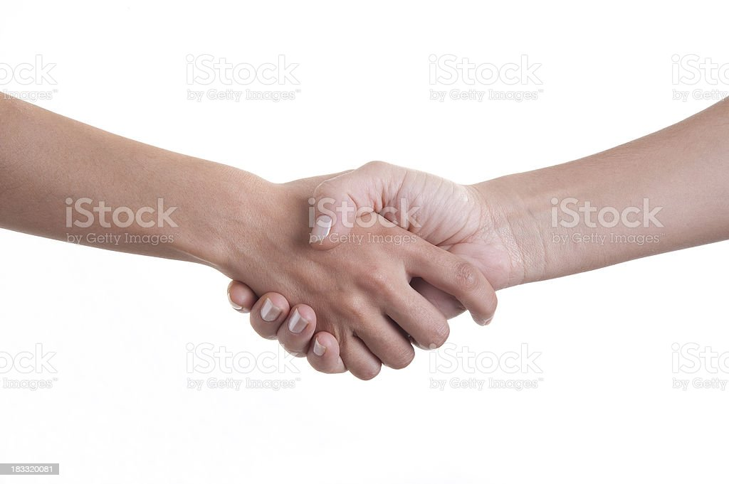 Handshake On White royalty-free stock photo