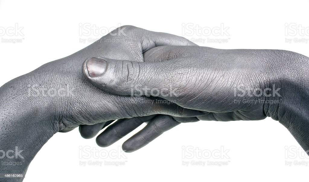 Handshake painted silver stock photo