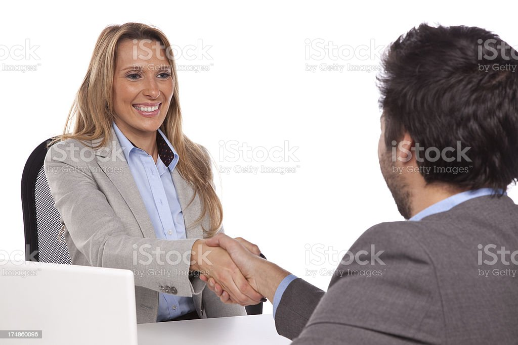 Handshake while job interviewing. royalty-free stock photo