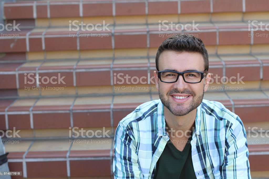 handsome 30-year-old man with glasses stock photo