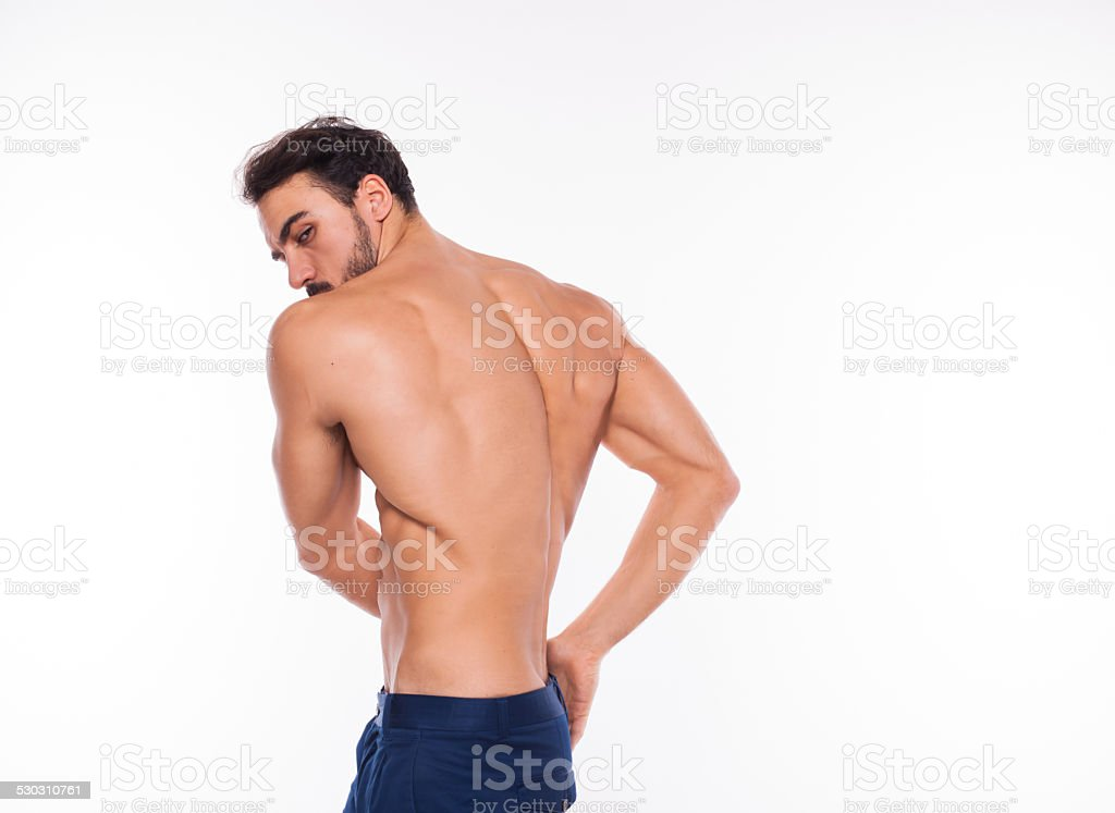 handsome adult man with healthy athletic body stock photo