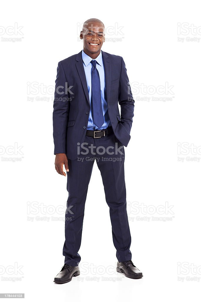 handsome african american businessman in suit stock photo