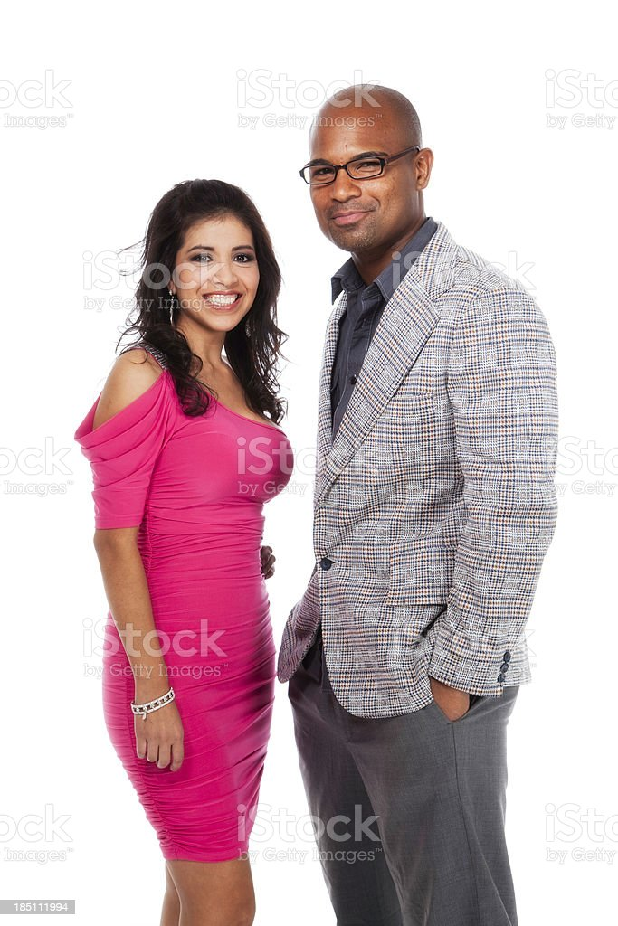Handsome African American Man and Hispanic Woman Couple stock photo