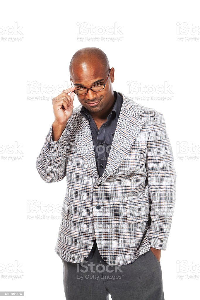 Handsome African American Man with Glasses royalty-free stock photo