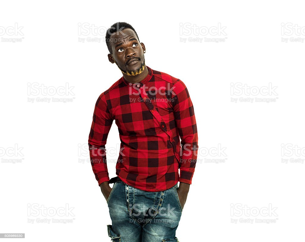 Handsome african man portrait wearing red chequed shirt stock photo