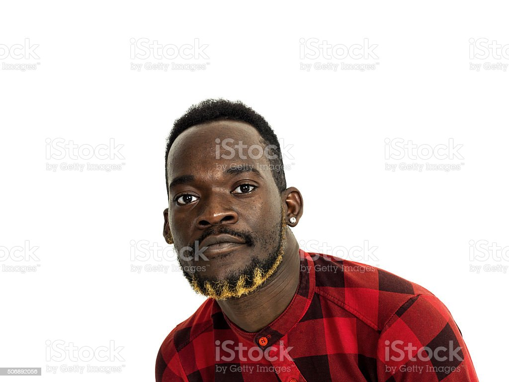 Handsome african man wearing checkered red shirt stock photo
