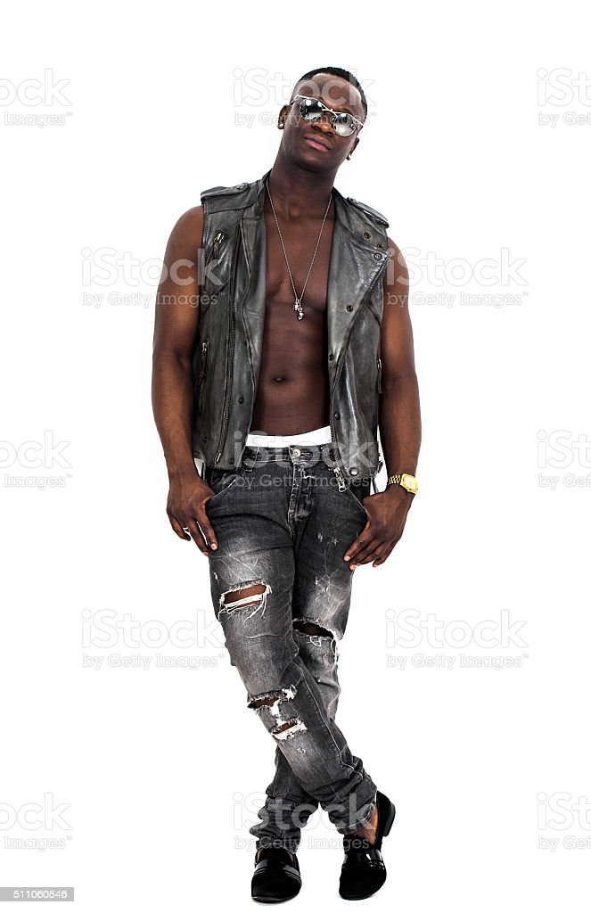 Handsome and confident african man portrait posing on white stock photo