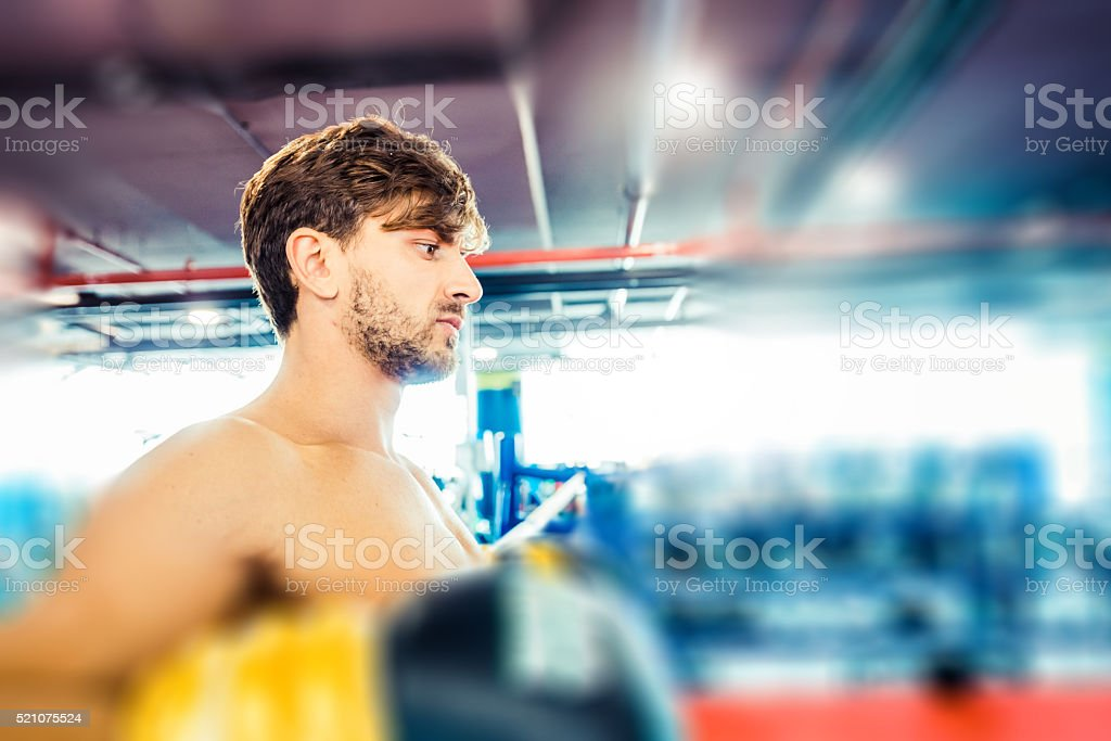 Handsome and Muscular Boxer Taking a Pause stock photo