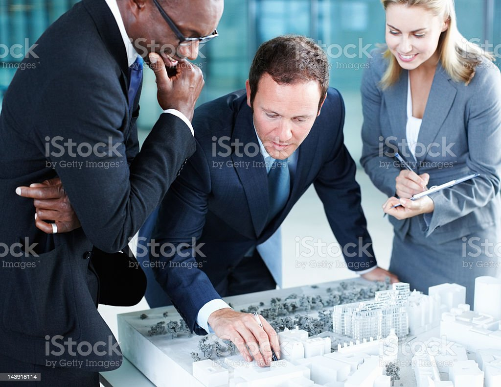 Handsome architect concentrating on the project royalty-free stock photo