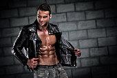 Handsome Athletic Men Wearing Leather Jacket
