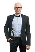 Handsome bald guy with bow-tie