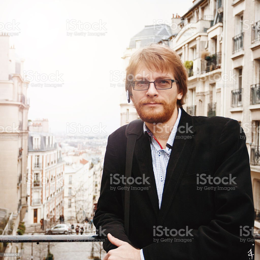 Handsome Bearded Man in Paris, France stock photo