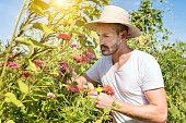 handsome bearded man with straw hat in flower garden