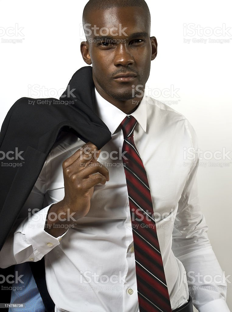 Handsome Black Businessman In Suit Shaved Head stock photo