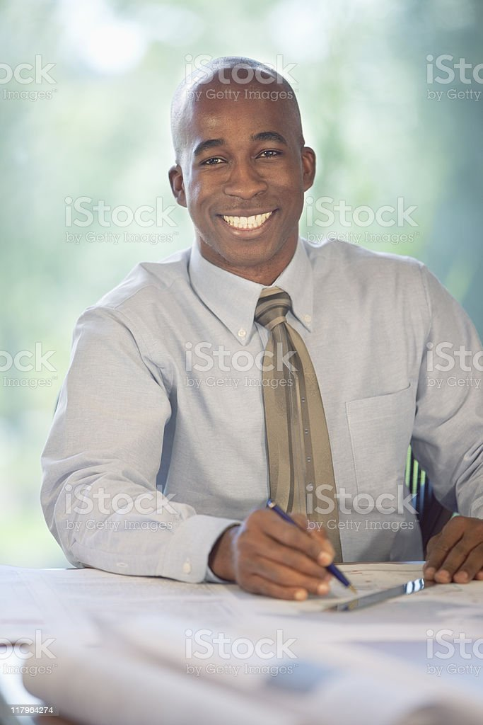 Handsome Black Businessman In The Office royalty-free stock photo