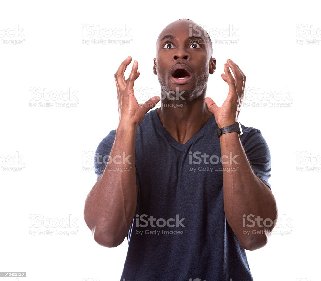 handsome black man scared stock photo