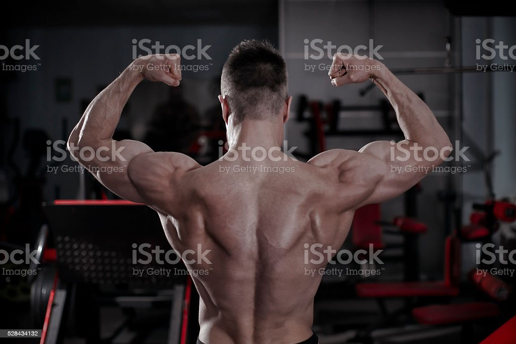 Handsome bodybuilder posing in gym. Perfect muscular male body stock photo