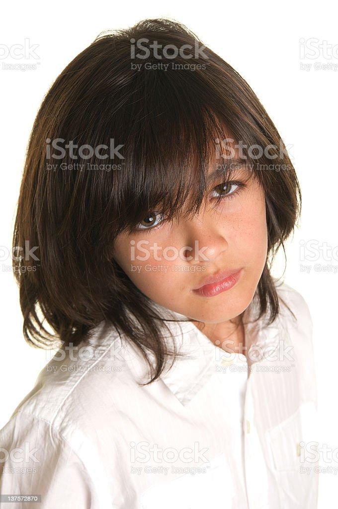 Мальчик с длинными волосами 11 лет
