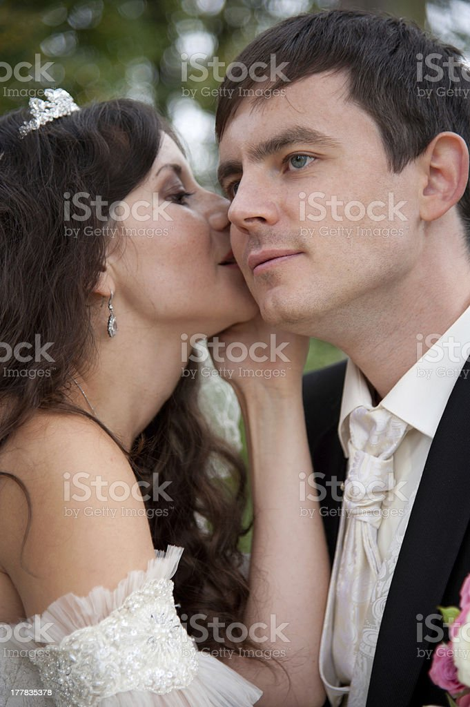 Handsome bride and funny groom royalty-free stock photo