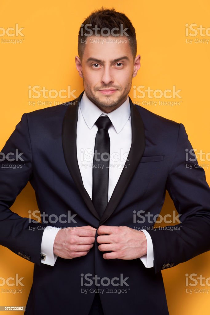 Handsome business man in a business suit stock photo