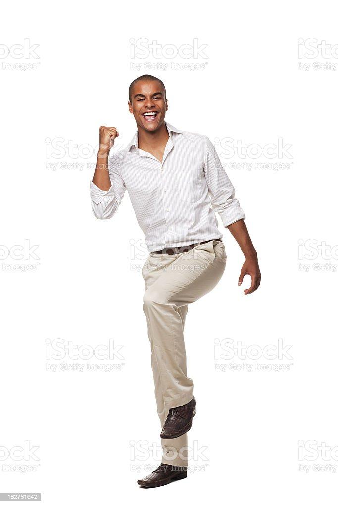 Handsome Businessman Celebrating. Isolated royalty-free stock photo