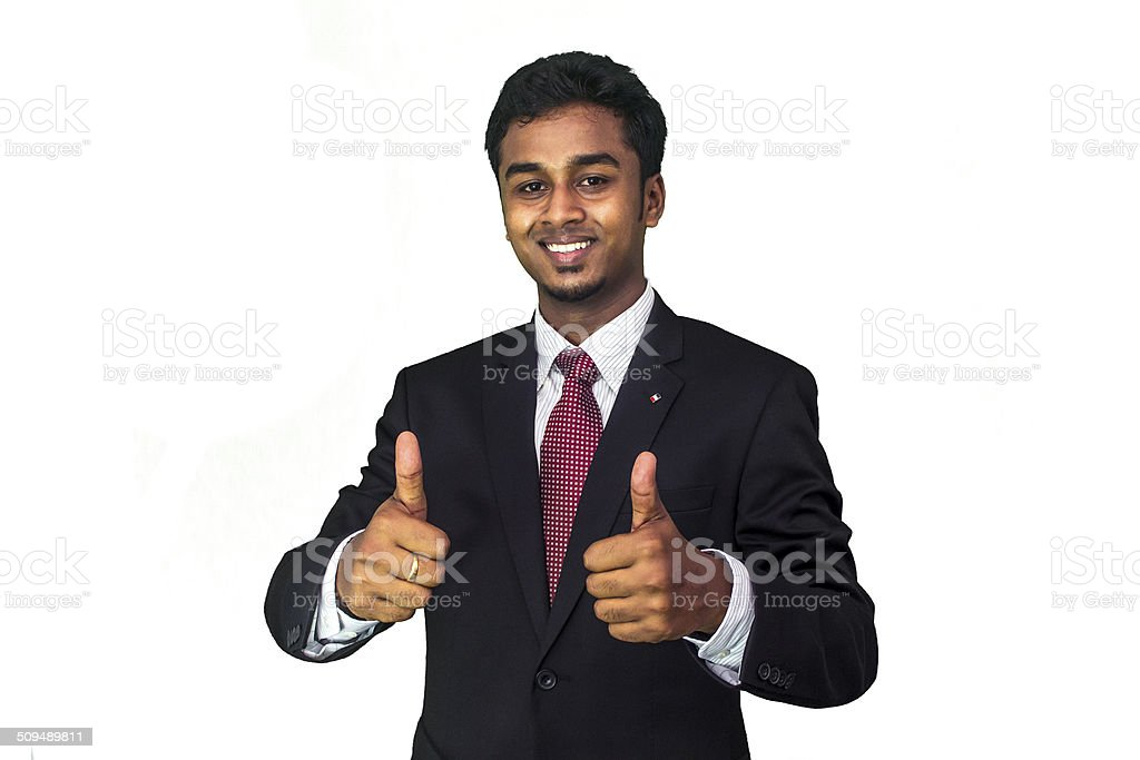 Handsome Businessman Giving a Thumbs Up stock photo