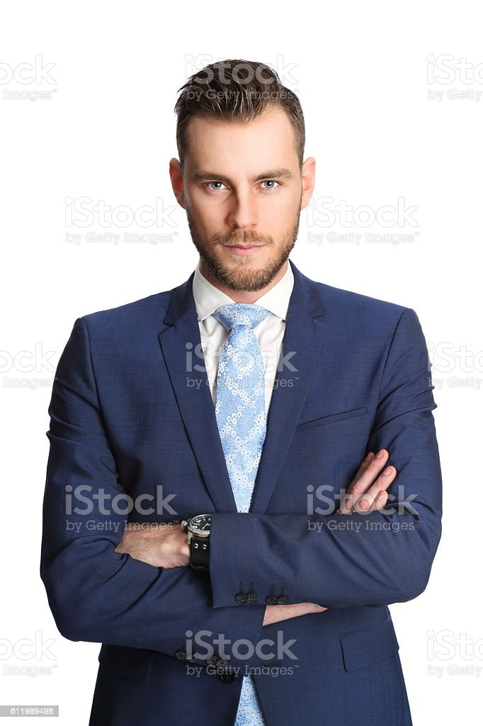 Handsome businessman in blue stock photo