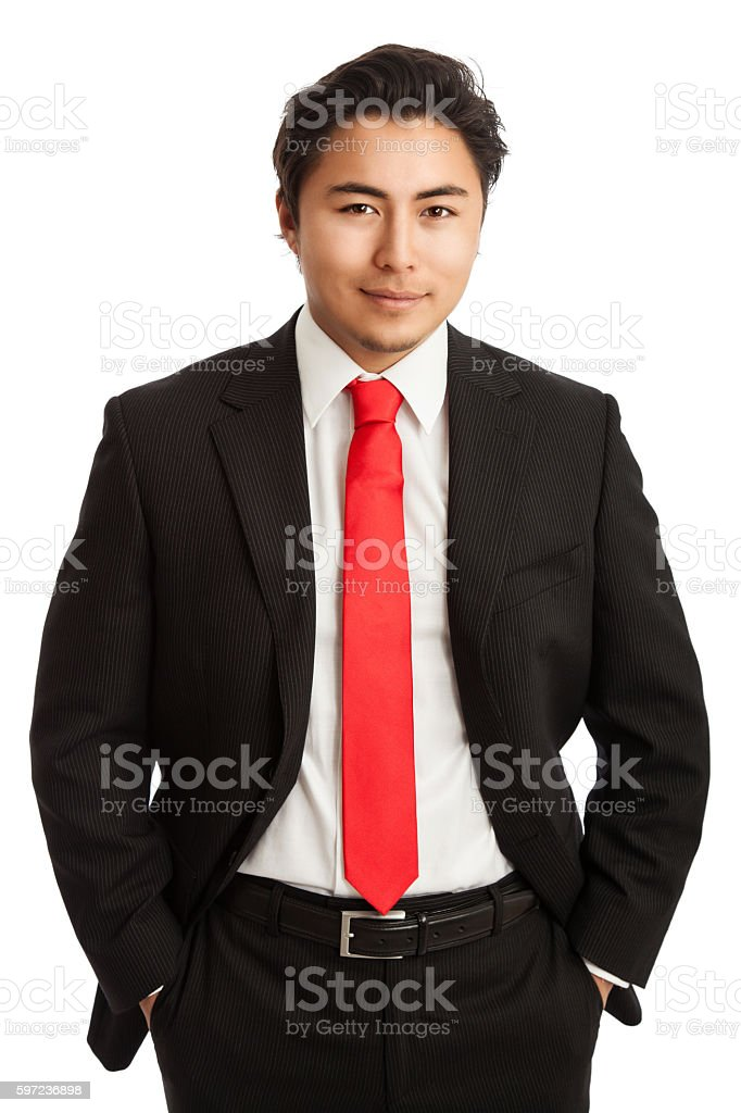 Handsome businessman in suit stock photo