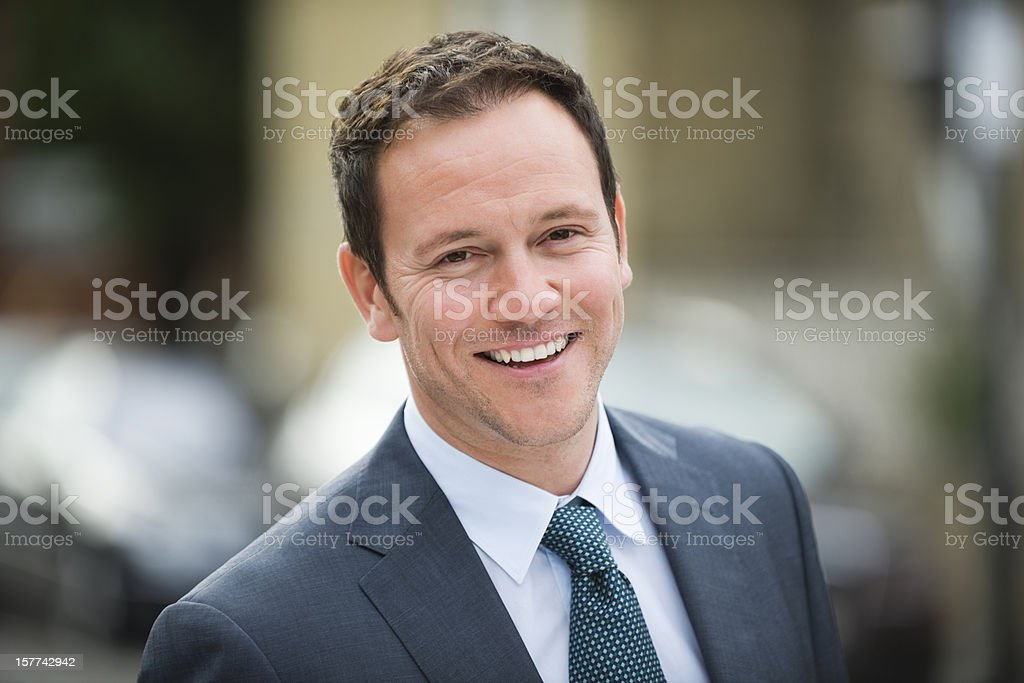 Handsome Businessman Smiling royalty-free stock photo