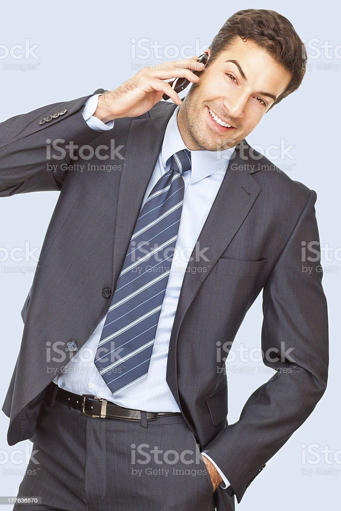 Handsome businessman talking on the phone royalty-free stock photo