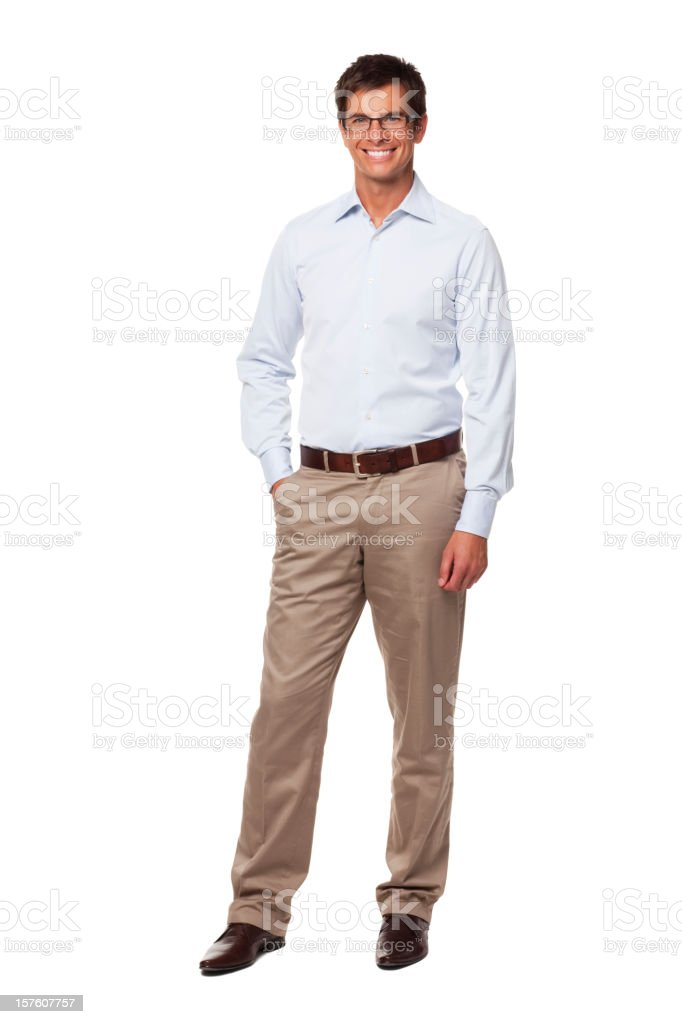 Handsome Businessman Wearing Glasses and Smiling. Isolated stock photo
