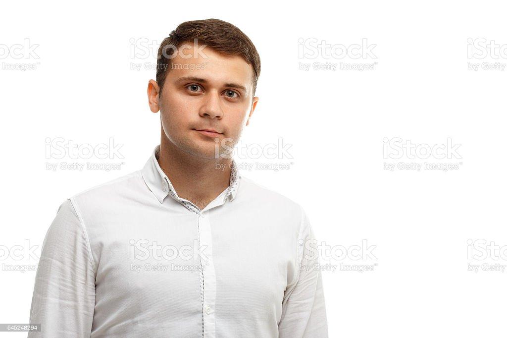 Handsome businessman wearing white shirt stock photo