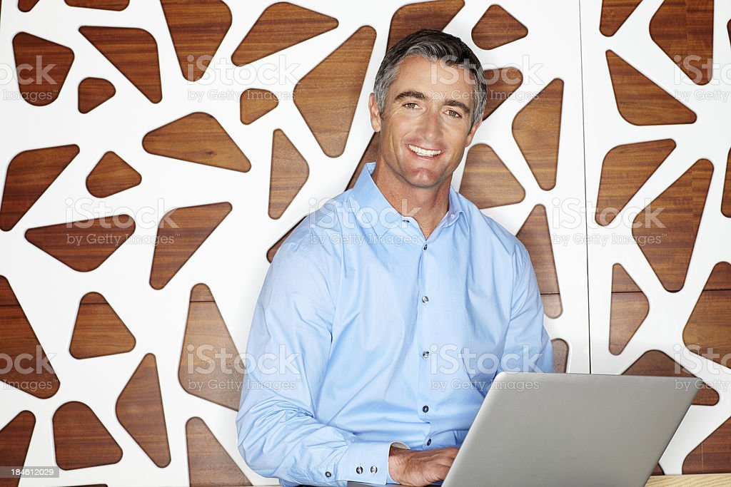 Handsome Businessman With a Laptop royalty-free stock photo