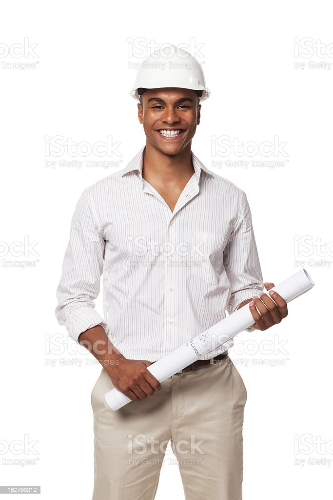 Handsome Businessman With Hardhat and Blueprints. Isolated royalty-free stock photo