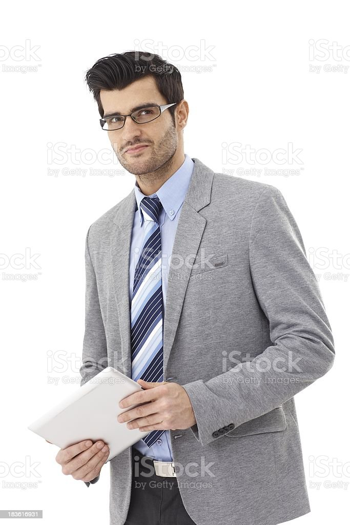 Handsome businessman with tablet royalty-free stock photo