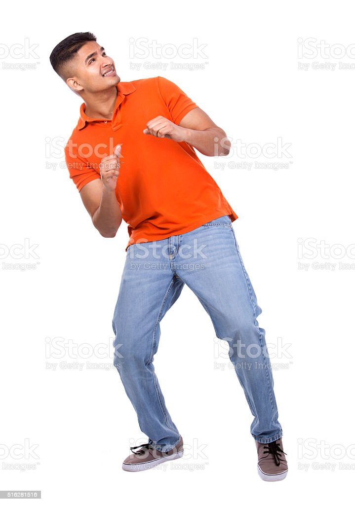 handsome casual man pointing stock photo
