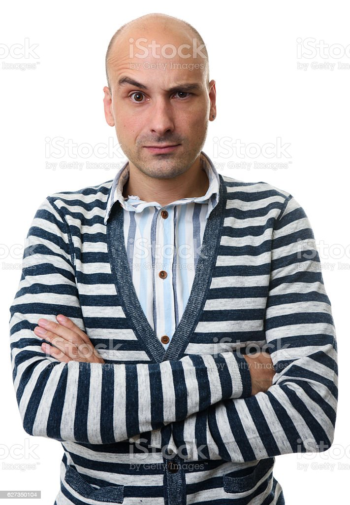 Handsome Caucasian doubting man with a curious expression stock photo