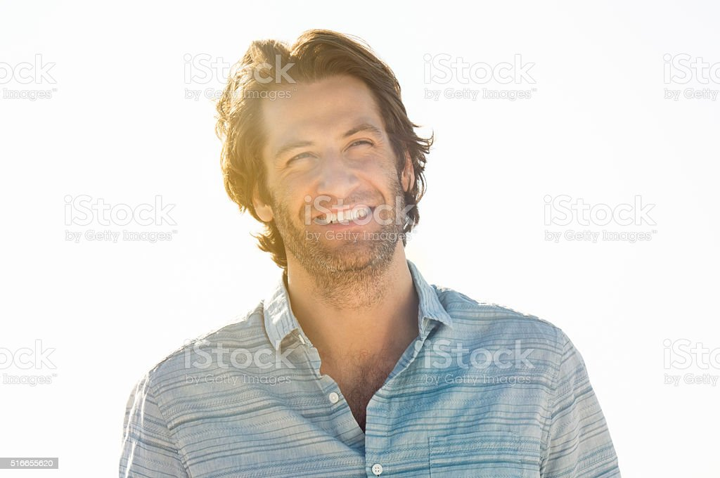 Handsome cheerful man stock photo