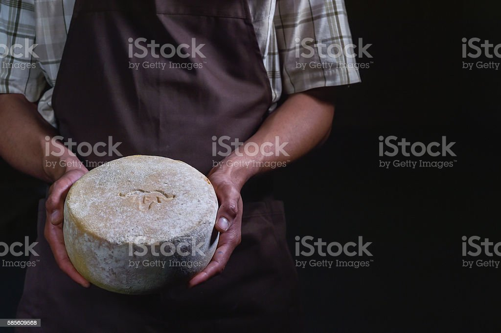 Handsome cheesemaker is checking cheeses in his workshop storage. stock photo
