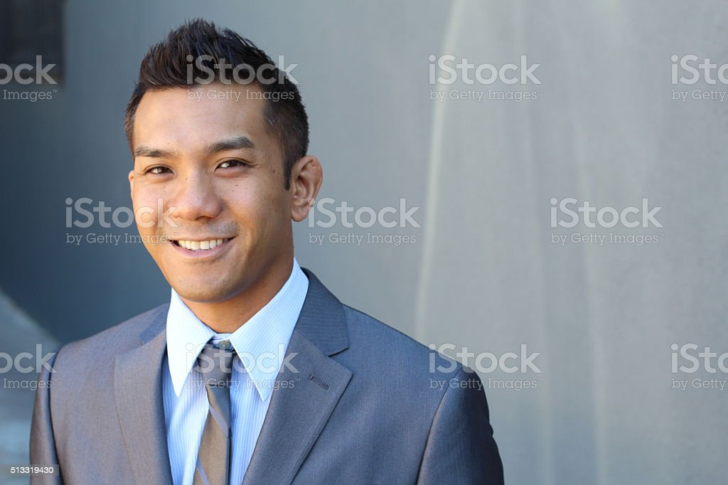 handsome classic Asian male with copy space stock photo