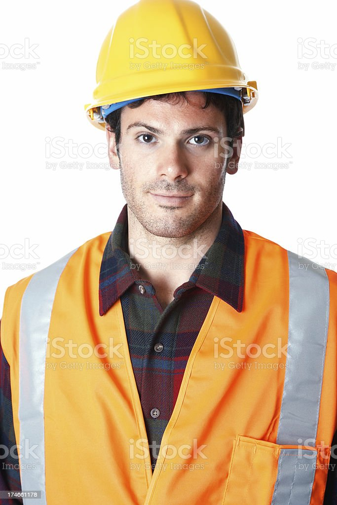 handsome construction worker wearing reflective jacket and hardhat royalty-free stock photo