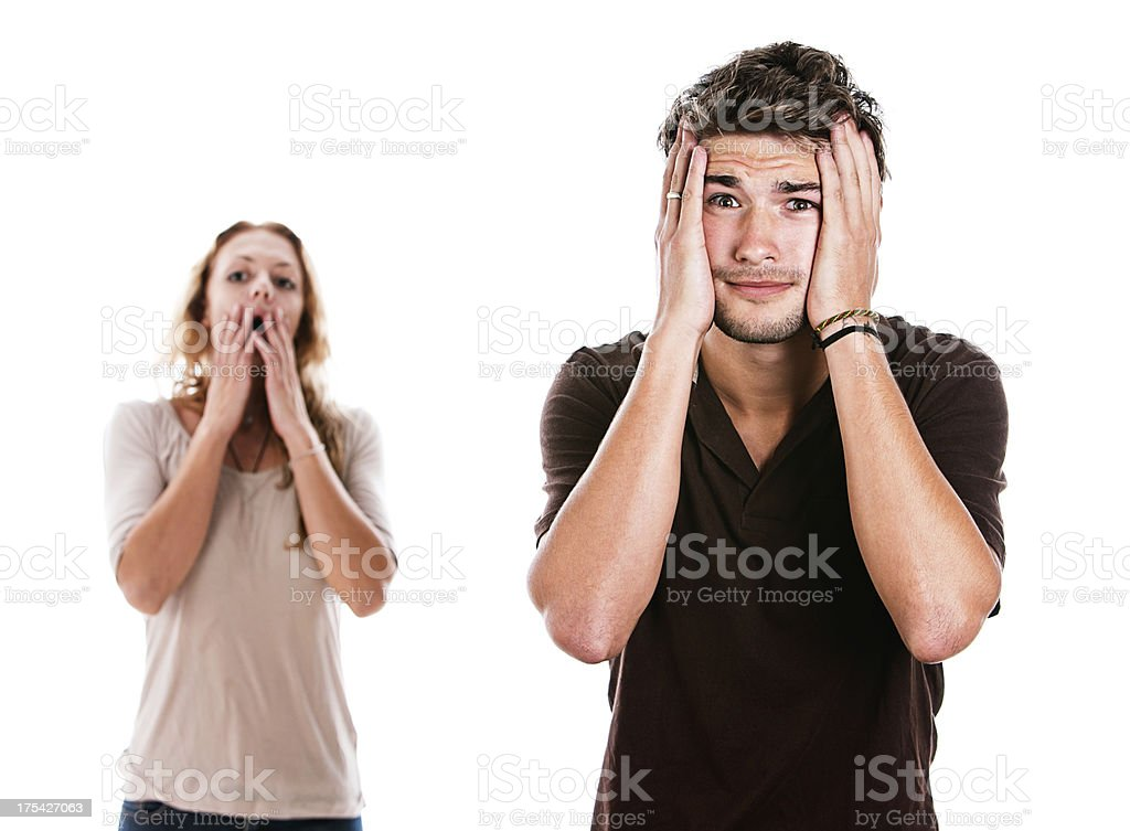 Handsome couple are extremely upset by something stock photo