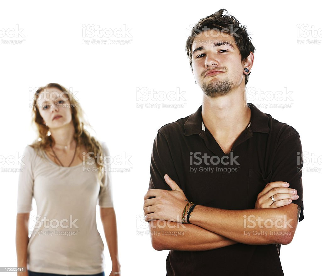 Handsome couple considering or judging something stock photo