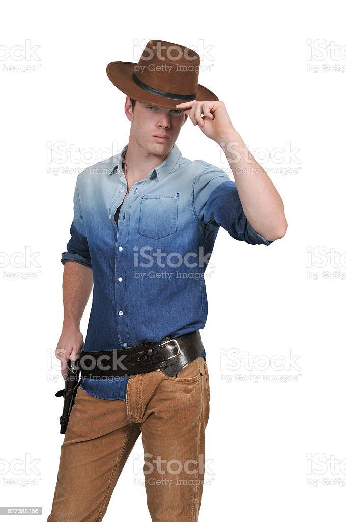 Handsome cowboy man stock photo